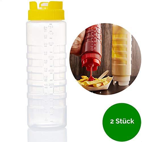 Kerafactum Quetschflasche Squeeze Flasche Dosierflasche Saucenflasche | Ketchup Spender Soßenflaschen Pancake Bottle Mayo Senf | Plastik Quetschflaschen für Dicke Sauce Soßen Kopfflasche | 2 Yellow