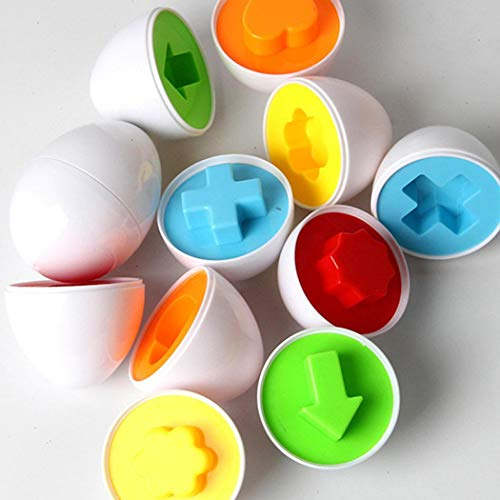 Onbay1 6Pcs Kids Infant Toddler Simulation Eggs Color Shape Matching Egg Set Educational Development Puzzle Toy for Kids Boys Girls Figures & Playsets