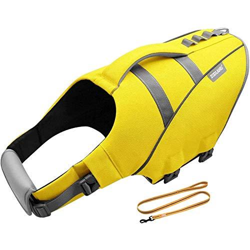 HWZZ Chaleco salvavidas para perro con diseño de tiburón, chaleco salvavidas, chaleco de natación para cachorro, abrigo ajustable para asas para fácil rescate, amarillo, XS