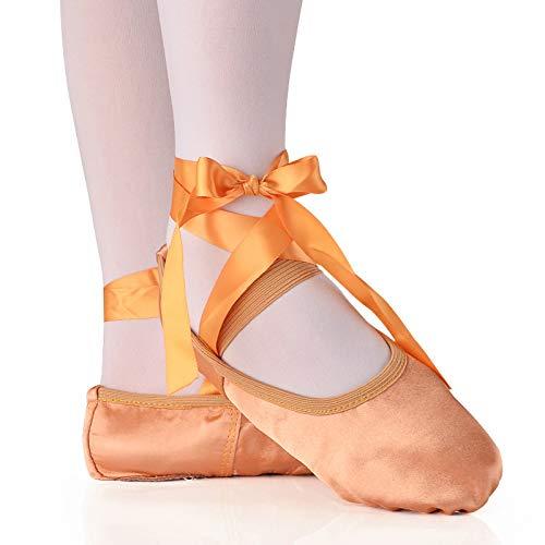 YMG Zapatos de Baile de Seda para Baile De Ballet, Punta con Cinta, Zapatos de Ballet de Satén para Niñas/Niños Pequeños/Niños/Mujeres,Camel,24