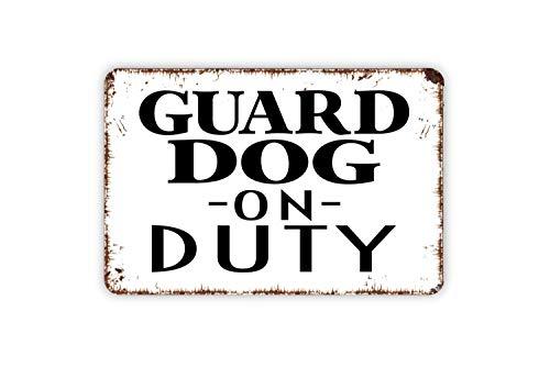 Lionkin8 Cartel de aluminio con texto en inglés 'Guard Dog On Duty' K9 Caution Beware or Warning - 8 x 12 pulgadas