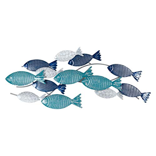 CAPRILO. Adorno Pared Decorativo de Metal Banco de Peces Azules. Cuadros y Apliques. Muebles Auxiliares. Decoración Hogar. Regalos Originales. 75 x 4 x 32 cm