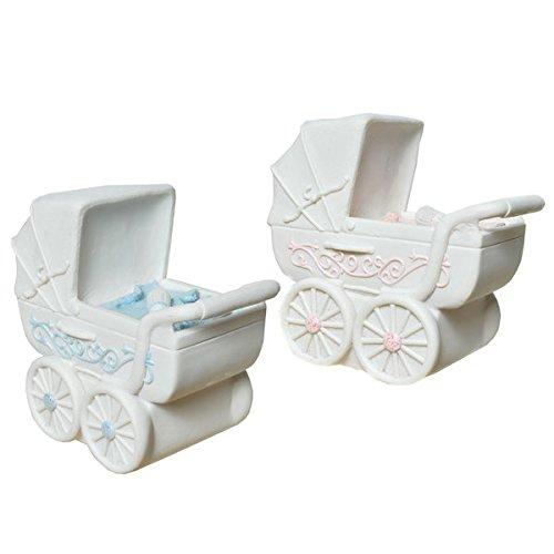 Schmidt Spardose Sparbüchse Baby Taufe Geburt Geldgeschenk | Kinderwagen | 12,5 x 13 cm (hellblau)