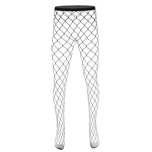 YiZYiF Herren Fischnetz Strumpfhosen Transparent Leggings sexy Pantyhose Lange Netz Strümpfe Tight Unterhose Männer Nylon Stockings Einheitsgröße Schwarz C One Size