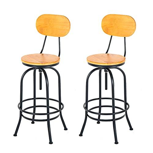 WWJZXC Juego de 2 taburetes de Bar Taburetes de Bar de Altura Ajustable Asiento Giratorio de Madera Estilo Industrial Retro Barra de Desayuno Pub Sillas de Cocina con Patas Curvas