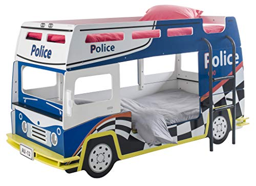 Miroytengo Cama litera Coche Policía Infantil habitación Juvenil Color Azul y Blanco 90x200 con somieres