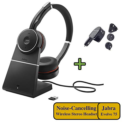 Great Deal! Jabra Evolve 75 Bluetooth Headset Bundle | Active Environmental Canceling | USB Dongle, ...