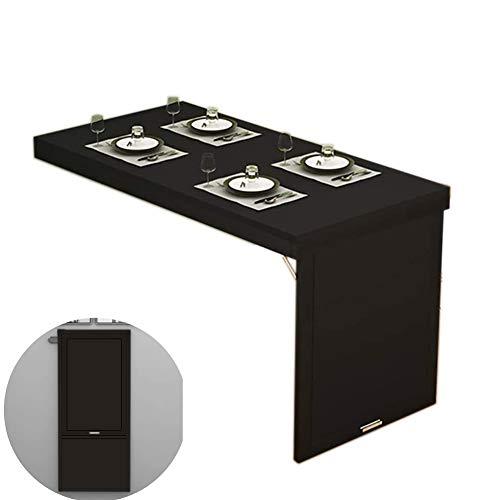 SYJH Mesa Plegable Comedor, Mesas De Cocina De Madera, Mesas Abatibles para Ahorrar Espacio, Mesa Plegable contra La Pared(Color:Negro,Size:120×60×75cm)