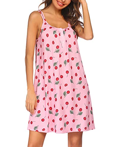 Ekouaer Sleepwear Womens Sleeveless Nightgown Print Pajama Dress Cotton Sleepshirts Slip Night Dress
