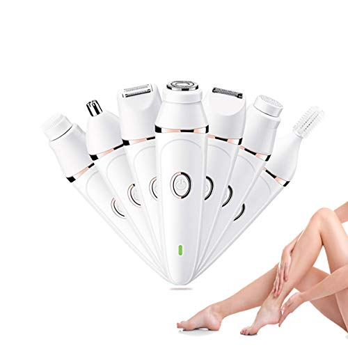 Razor for Women,7 in 1 painless Electric Shaver set,Wet & Dry Lady Hair Remover. Rechargeable Epilator and Trimmer, for Eyebrow Hair, Facial Hair,Body, Legs.