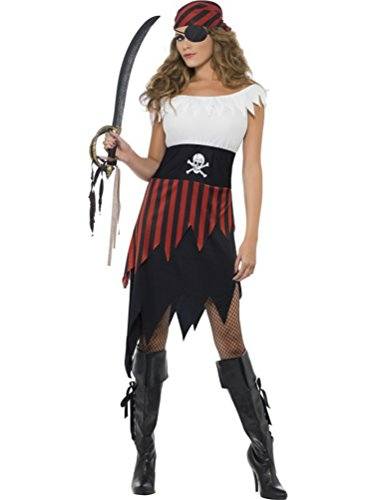 Smiffy's Costume Pirate Femme Taille Petite et Moyenne Da Donna: 16-18 Black, White and Red.