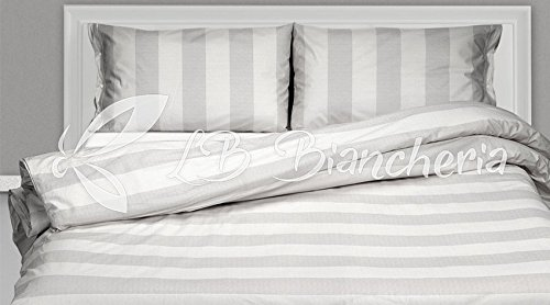 R.P. Parure Copripiumino Sacco Righe Grigio - Prezioso Cotone Made in Italy Trama fitta - 2 piazze. Letto Matrimoniale Misura Maxi 250X220+Patella