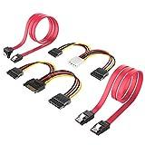 Inateck SSD/SATA III Cables 2X SATA Cables de Datos 48 cm y 2X Cables de alimentaciones 16...