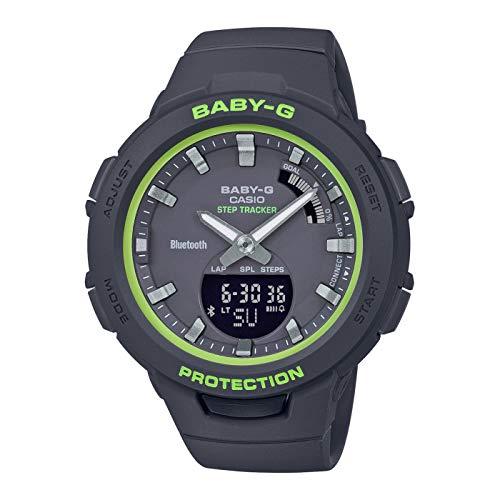 CASIO Damen Analog-Digital Quarz Uhr mit Harz Armband BSA-B100SC-1AER, Grün-Schwarz