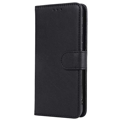 WIWJ Hülle für Samsung Galaxy A40 Tasche Flip Schwarz - Rein Farbe Ledertasche Wallet Case mit Kartenhalter Abnehmbar Magnet Backcover Detachable Schutzhülle für Galaxy A40 Handyhülle