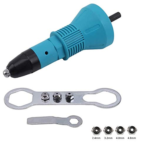 Cordless Rivet Gun, YWKOW Electric Drill Tool Kit Riveter Adapter Insert Nut Hand Power Tool Accessories (Blue)