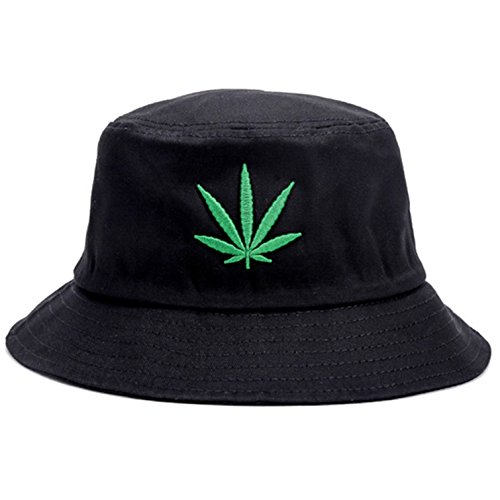 Bucket Hat Cap Marihuana Weed Leaf Cannabis – faltbar Snapback Herren Damen -  Schwarz -  Einheitsgröße