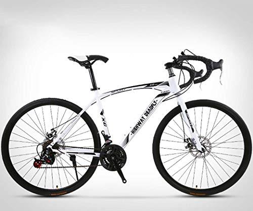 ZTYD 26 Pollici Bicicletta della Strada, 24 velocità Bici, Doppio Disco Freno, Acciaio al Carbonio Telaio, Strada Biciclette da Corsa, per Uomo e Donna per Soli Adulti,Bianca