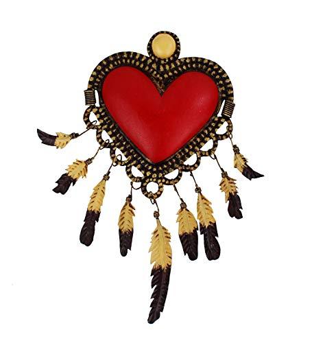 mitienda hart met liefde gemaakt wanddecoratie, decoratieve hanger, decoratie van plaatstaal, handwerk, wandversiering metaal, decoratie, cadeau-idee, 18 x 18 cm Hart Navajo