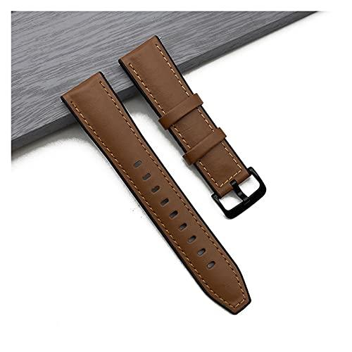 HANLILI kasu Banda de Reloj de Cuero Relojes rápidos Silicone Scriststrap 20mm 22mm Apto para Huawei Samsung Galaxy Amazfit Watch Accesorios (Band Color : Brown, Band Width : 22mm)