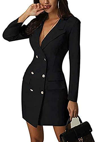 Frecoccialo - Vestito da donna, sexy, doppio bottone, a maniche lunghe, taglia grande Nero XXL