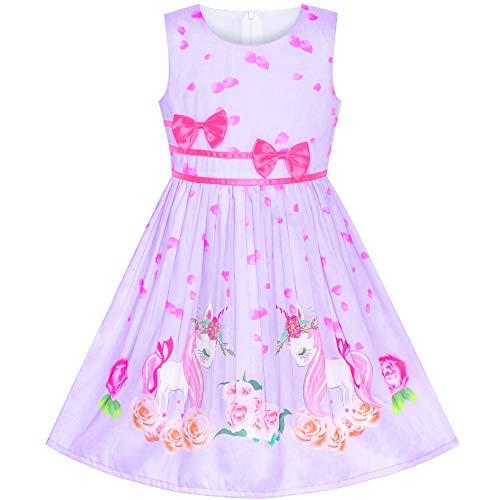 Sunny Fashion Mädchen Kleid Lila Einhorn Blume Sommer Trägerkleid Gr. 116-122