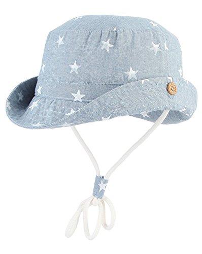 Cloud Kids Unisex Sonnenhut Fischerhut Kinder Baby Stern Sommerhut UV Schutz, Kopfumfang 52cm (Herstellergröße 54), Blau