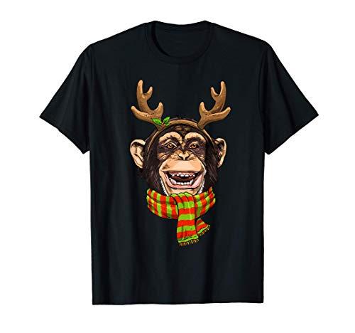 Monkey Christmas Reindeer Antlers Xmas Gifts Kids Boys Girls T-Shirt
