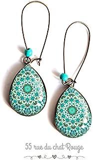 Orecchini cabochon gioielli gocce, mantra, mandala turchese, Zen
