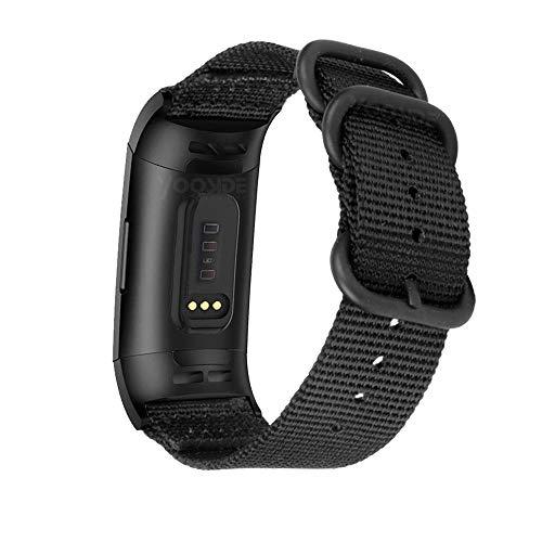 YOOSIDE Cinturino per Fitbit Charge 4   Charge 3, Nota Cinturino in Nylon Intrecciato con Cinturino Regolabile in Acciaio Inossidabile con Anello in Metallo per Fitbit Charge 4(Nero)