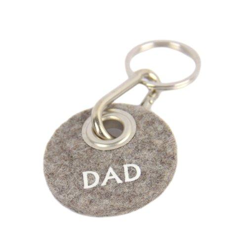 Schlüsselanhänger Filz Grau, Geschenk für Papa, Männer Filzanhänger mit Spruch Dad, Karabiner aus Metall
