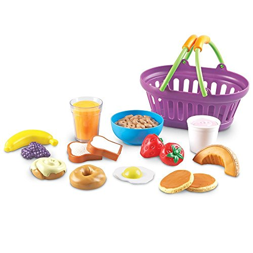 Learning Resources New Sprouts Breakfast Foods Basket, Pretend Play, 16 Pieces, Ages 18 mos+