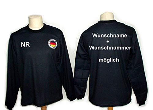 Spielfussballshop Deutschland Torwart Trikot gepolstert mit Wunschname Nummer Kinder Größe 134