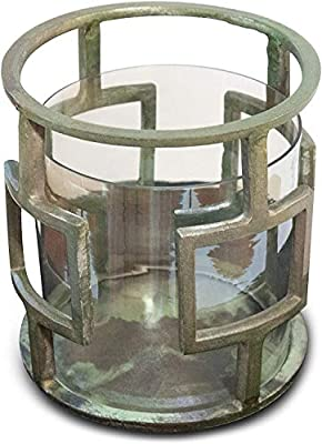 Raw Aluminum and Glass Hurricane Candle Holder (DH3040) | Decorative Table Centerpiece | Decor Accent Pillar Candle Glass Holder | Table Centerpiece for Home and Office Decor. ( 11 x 11 x 22 ) from Vandy Ideal