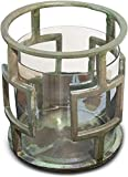 Raw Aluminum and Glass Hurricane Candle Holder (DH3040) | Decorative Table Centerpiece | Decor Accent Pillar Candle Glass Holder | Table Centerpiece for Home and Office Decor. ( 11 x 11 x 22 )