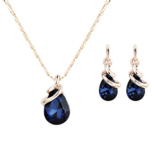 COLORFUL BLING Rose Gold Teardrop Infinity Pendant Necklace Dangle Earring Bridal Pearl Jewelry Sets - Dark Blue