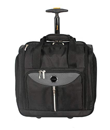 Lucas Cabin Luggage Collection - Small Lightweight 15 Inch Under Seat Bag - Garment Briefcase for Men & Women - Carry On Suitcase with 2- Rolling Spinner Wheels (Adrenaline Black)
