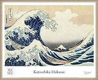 ポスター ホクサイ The Great Wave 富嶽三十六景・神奈川沖波裏 額装品 ウッドベーシックフレーム(オフホワイト)