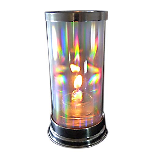 Firefly Rainbow Glass Candle Holder - Crystal Prism Hurricane Lantern with 2-oz. Refillable Glass Votive Candle