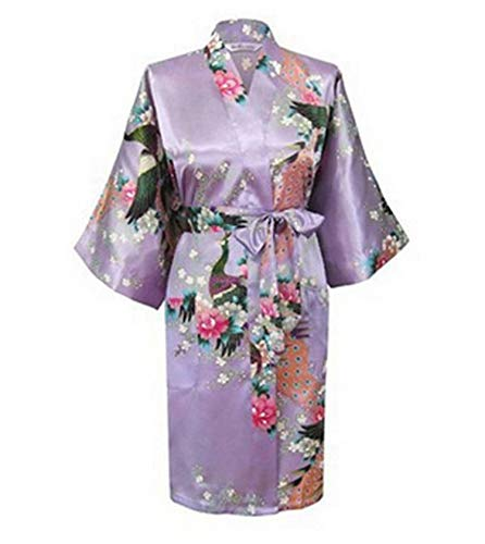 who-care Sexy Kimono-Bademantel für Damen, für Braut, Brautjungfer, Hochzeit, Grau,...