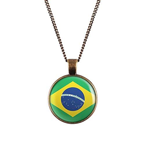 WeAreAwesome Brasilien Flagge Halskette - Länderkette Brasil mit Fahne Anhänger Unisex Kette