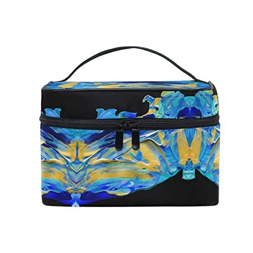 Bolsa De Maquillaje, Bolsa De Cosméticos Perezosa, Pintura Azul Abstracta Bolsa De Maquillaje De Viaje, Caja De Viaje De Maquillaje Impermeable Profesional para Mujeres