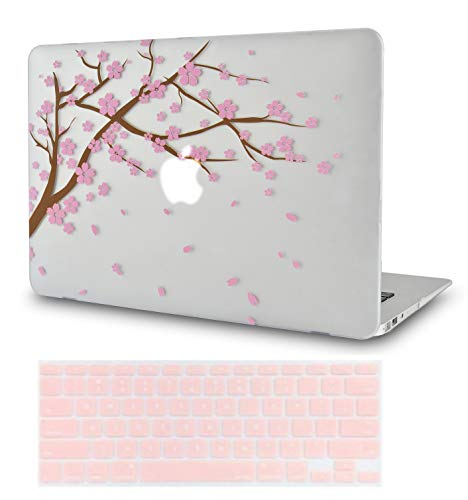 LuvCase 2 in 1 Laptop Case with Keyboard Cover For MacBook Air 13 Inch (2020/19/18 Release)New Version A1932 with Retina Display (Touch ID) Rubberized Plastic Hard Shell Cover (Cartoon Cherry Blossom)