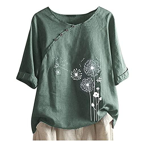 LOIAZD Larga Camisas Algodón y Lino Camisetas Estampado Tops Tallas Grandes, Blusas y Camisas de Mujer