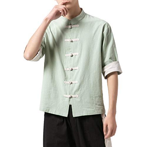 Camisa de Manga Corta con Cuello Alto de Verano para Hombre Camisa de Manga Corta con botón de Disco Personalizado de Estilo Chino Retro de Gran tamaño L