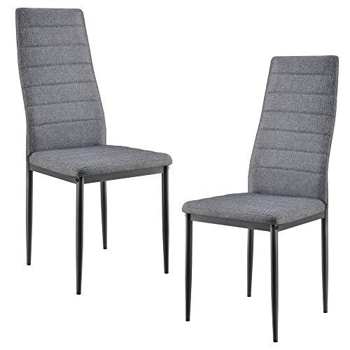 [en.casa] 2er Design Stuhl-Set Grau Italienisch Lehnstuhl Hochlehner Esszimmerstuhl Polsterstuhl