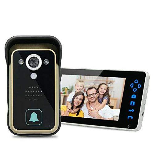 DBM-TOR Timbre inalámbrico del teléfono de la Puerta 2.4G Sistema de intercomunicación Monitor de Seguridad para el hogar con Timbre de Puerta de 7 Pulgadas con visión Nocturna y Sensor de Movimiento