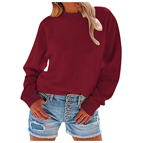 Lalaluka Sudadera de mujer monocolor, jersey de cuello redondo, manga larga, camiseta con capucha, camiseta de manga larga, rojo, M