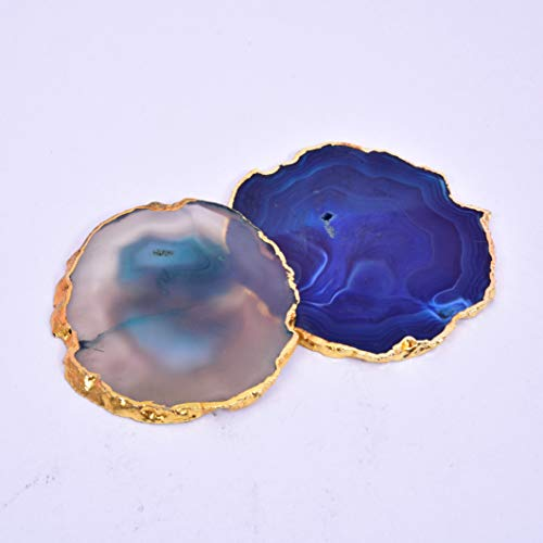 Set of 4 Dyed Agate Sliced Coasters for Drinks Stone Geode Coasters Housewarming Gift Decorative for Home Office 3-3.5 Inches