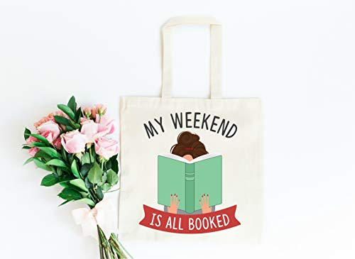 My Weekend is All Booked Tote Bag in Natural Color